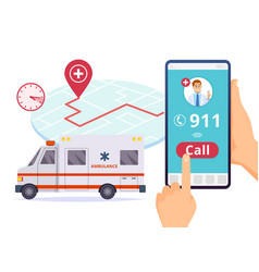 ambulance service urgent 911 hospital emergency vector image