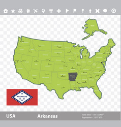 arkansas flag and map vector image