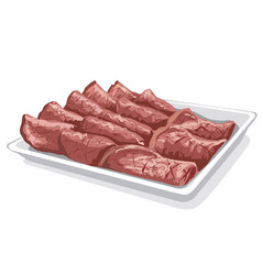 baked sliced veal vector image