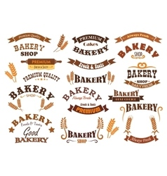 Bakery shop and pastry signs vector