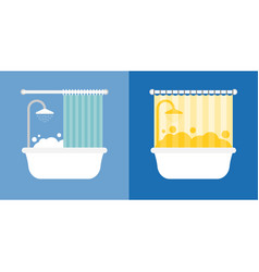 Bath and shower with bubble icon vector