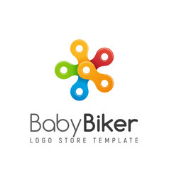 bicycle chain colorful isolated logo kids vector image