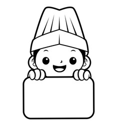 black and white happy cook mascot is holding a vector image
