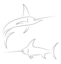 black line swordfish on white background hand vector image