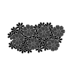 Black pattern with white contour floral design vector