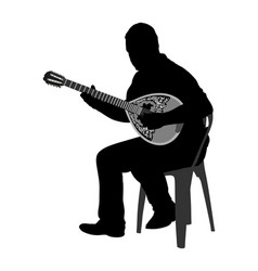 bouzouki player greek folklore silhouette vector image