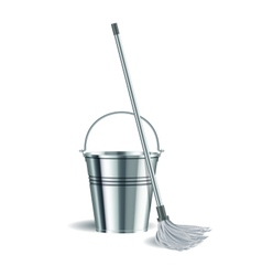 Bucket and mop on white background vector