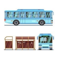 Bus stop and city bus vector