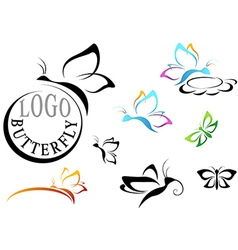 Butterfly Logo Set vector