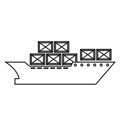 cargo ship silhouette icon vector image