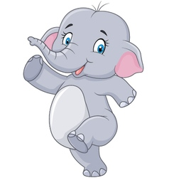 Cartoon Cute happy cartoon elephant isolated vector image