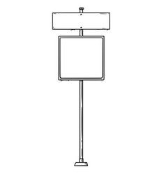 Cartoon drawing of traffic sign with two empty vector