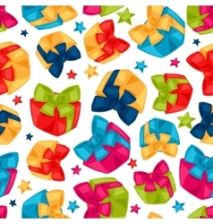 Celebration festive seamless pattern with gift vector