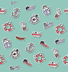 colored sea transport concept icons pattern vector image