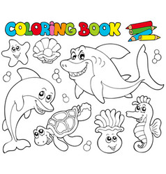 coloring book with marine animals 2 vector image