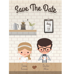 couple coffee wedding save date invitation vector image
