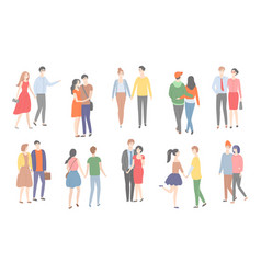 couples of men and women in love walking together vector image