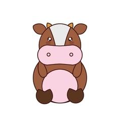 Cow kawaii cute animal icon vector