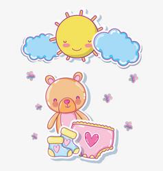 Cute bear on sunny day cartoon vector