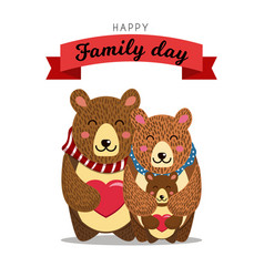 Cute bears family daddy bear hugs mommy bear and vector