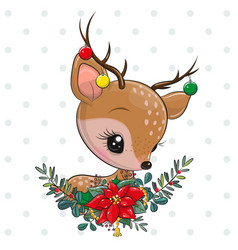 Cute cartoon deer with christmas wreath vector