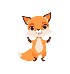 Cute fox character standing funny forest animal vector