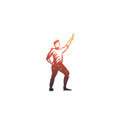 Dancing guy fun party disco concept hand vector