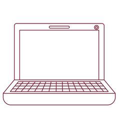Dark red line contour of laptop computer vector