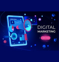 digital marketing landing page smartphone screen vector image