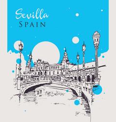 Drawing sketch la plaza de espana vector