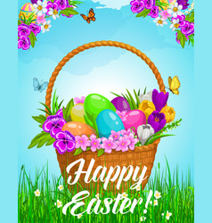 easter basket with flowers and eggs on green lawn vector image