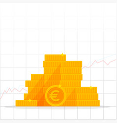 euro coin heaps business finance and economy vector image