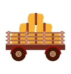 Farm wagon with straw isolated icon design vector