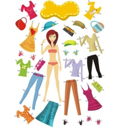 fashion girl set vector image