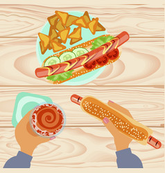 Fast food with beer vector