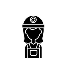 female builder black icon sign on isolated vector image