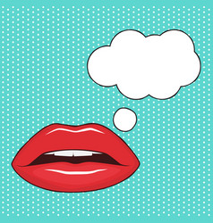 female lips and speech bubble vector image