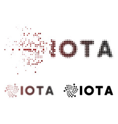 Fractured dot halftone iota ticker icon vector
