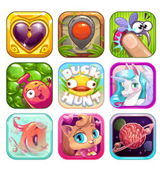 Funny cartoon app icons for game design vector