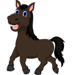 funny horse cartoon walking vector image