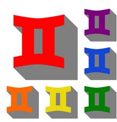 gemini sign set of red orange yellow green vector image