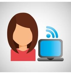 Girl character wifi laptop vector