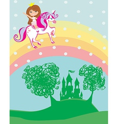 girl on a unicorn flying on a rainbow vector image