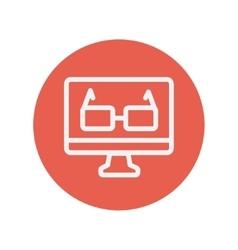 Glasses in computer monitor thin line icon vector