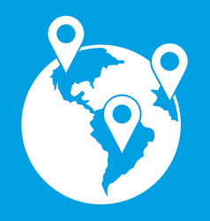 Globe and map pointers icon white vector