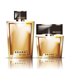 Golden perfume bottles product packaging vector