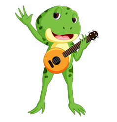Green frog playing guitar vector