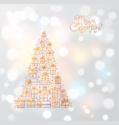 greeting christmas card with gold christmas tree vector image