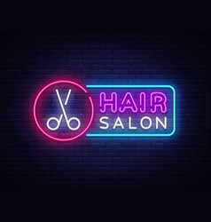 hair salon neon sign hairdress design vector image