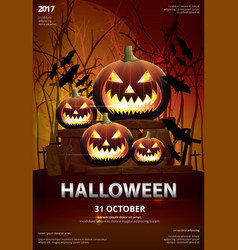 Halloween poster template design vector